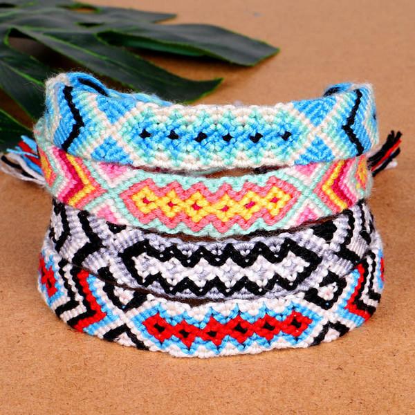 Estilo boho armadura de la cuerda pulseras de la amistad para los hombres de algodón hechos a mano pulsera del encanto brazaletes pulsera de los pares para los regalos