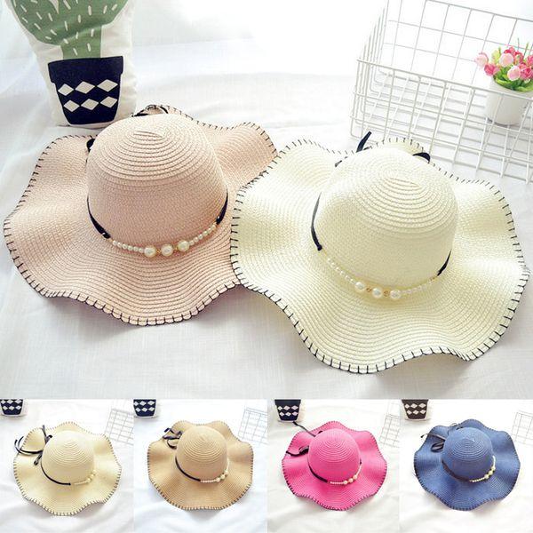 6 renkler Yeni Moda Anne ve Kızı Kapaklar Kelebek-düğümlü Aile Hasır şapkalar kızlar kova şapka çocuklar katlanabilir plaj şapkalar EMS JY513