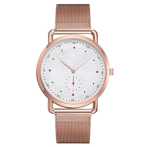 Fashion Business Mesh Wrist Band Belt Watch Quartz Watches Simple Personality Scale Double Dial Watch For Women Men Wristwatches