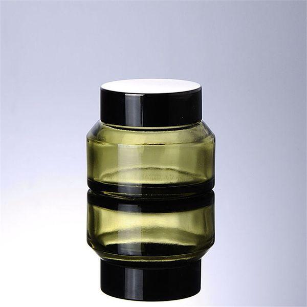 wholesale 30g pickles green cream glass jar, oblique shoulder brown cream bottles, packaging travel cosmetics bottles