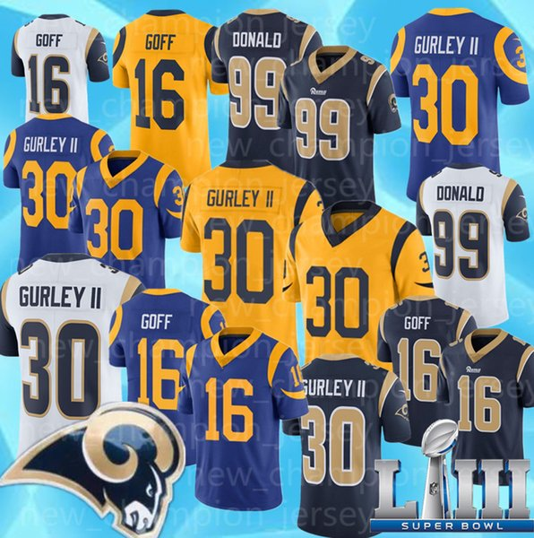 e815a1a55 Mens 30 Todd Gurley II Los Angeles Jerseys embroidery Logos 99 ARON DONALD  16 JARED GOFF Jersey Rams hot sale Free Shipping