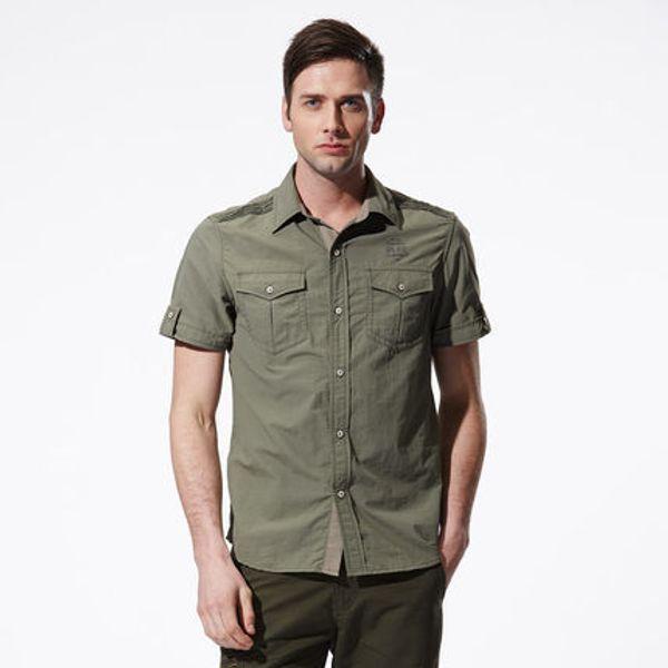 2018 new Quick Dry Short Sleeve Men Shirts Loose Casual Shirts Military Army Green Men's Clothing Big Size M-3XL 4XL 5XL A3299