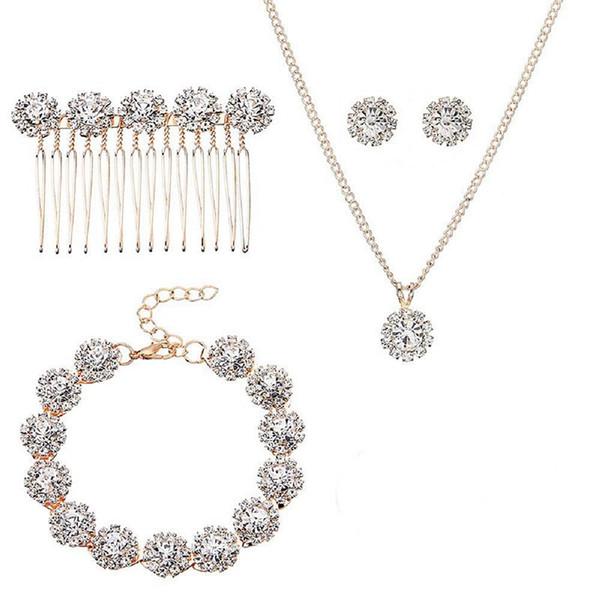 Bijoux De Mariage De Mariée Pour Mariées Avec Cristal Côté Peigne Boucles D'Oreilles Collier Bracelets 5 Pièces