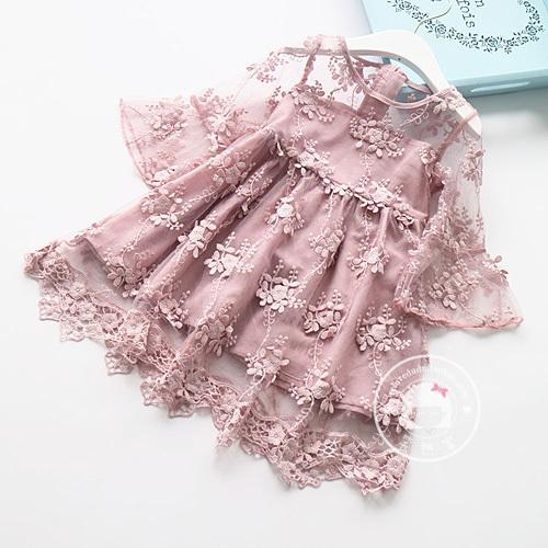 Girls beautiful summer dress kids mesh floral patchwork white pink dress baby princess party and wedding clothes children 2-7T
