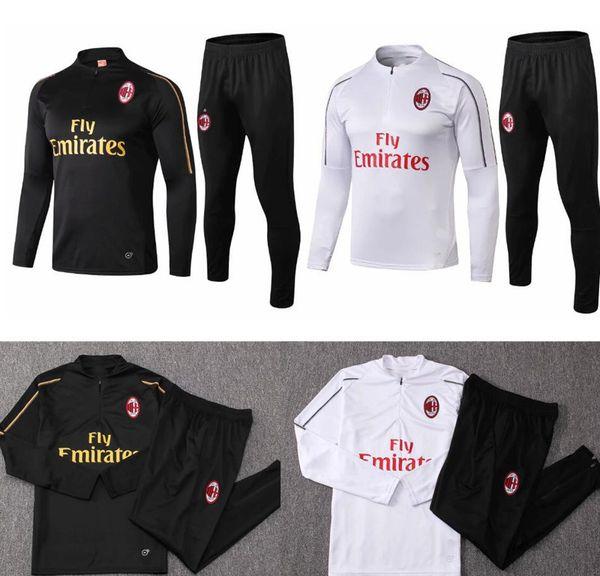 adult long sleeve training suit 18 19 AC Milan soccer jacket Training suit 2018-19 HIGUAIN CALHANOGLU BONUCCI F tracksuit football chandaL