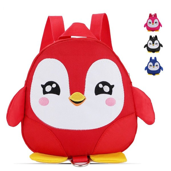 Baby Toddler Walking Safety Backpack Little Kid Boys Girls Anti-lost Bag Harness Reins Cute Cartoon Penguin Mini Backpacks with Safety leash