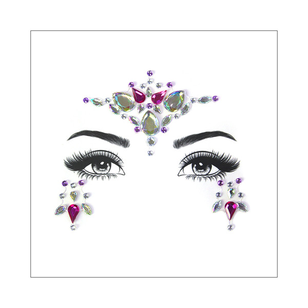 Female Face Jewelry Gems Rhinestone Temporary Tattoo Sticker Decoration Party Makeup Flash Bling Shining Crystal Tattoo Adhesive Body Art 3D