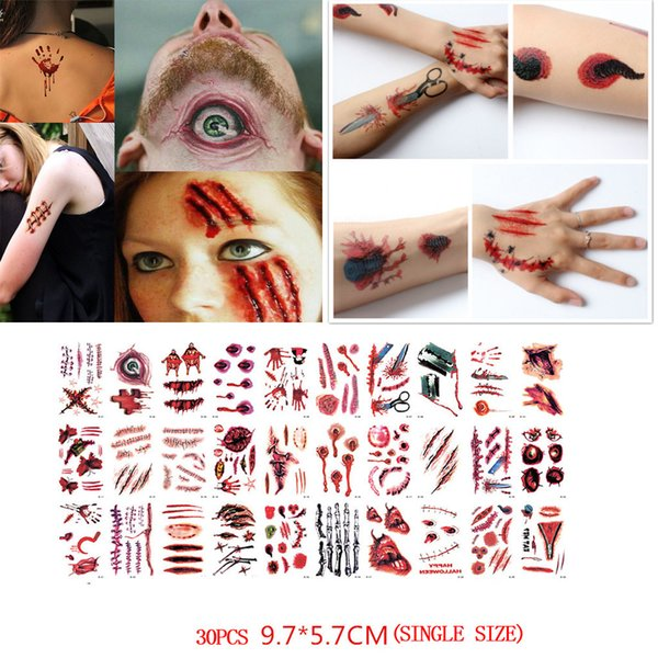 fb5ac9318 30 PCS Halloween waterproof temporary tattoos for lady women 3d reality  vampire blood scar design tattoo sticker 9.14