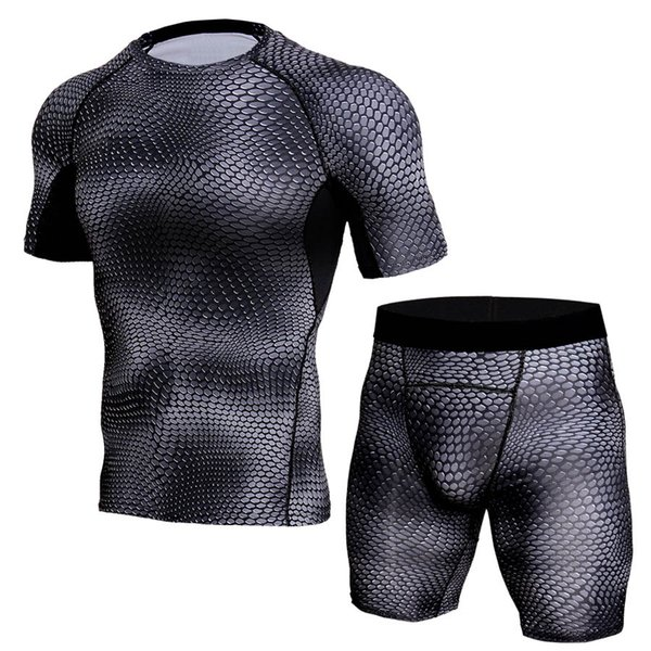 3D Camo Crossfit Suits Men Compression Tracksuit Short Sleeve T-shirt Sets Men Fitness Sportswear Joggers Breathable Tights