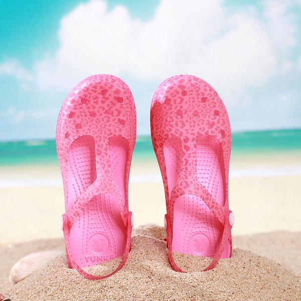 2019Verão Mulheres Mules Tamancos Praia Chinelos Respirável Sandálias Da Mulher Sapatos Geléia Bonito Impressão Jardim Sapatos Tamanco Para A Mulher