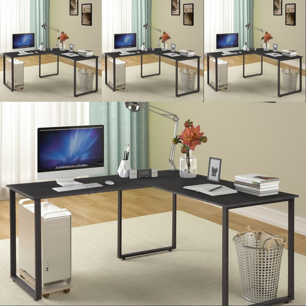 2019 US In Stock L Shaped Desk With Metal Legs Office Desk Workstation  Living Room Furniture Corner Computer Desk PC Laptop Table From ...