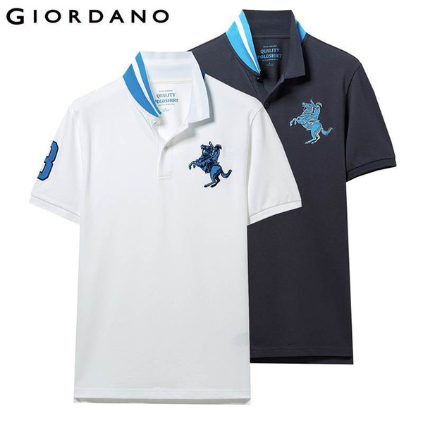 Giordano Men Polo Shirt 2-pack Embroidered Pattern Fashion Polo Men Stretchy Short Sleeve Polos Para Hombre Brand Summer Tops Q190426