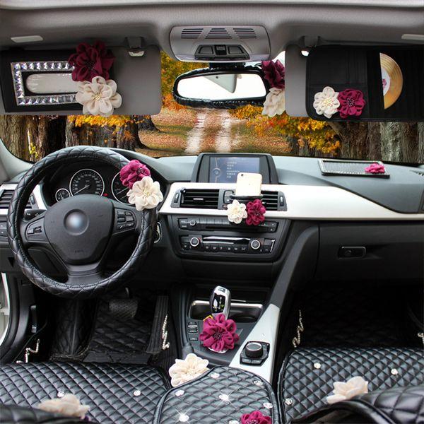 Rose Flower Car Steering Wheel Cover Leather Fashion Car Neck Waist Pillow Universal Styling Headrest Cushion Women