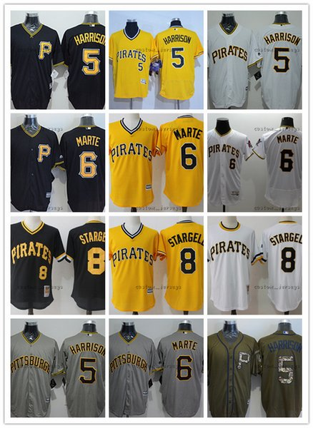 custom Men women youth Pittsburgh Jersey Pirates #8 Willie Stargell 6 Starling Marte 5 Josh Harrison Home Black Yellow Baseball Jerseys