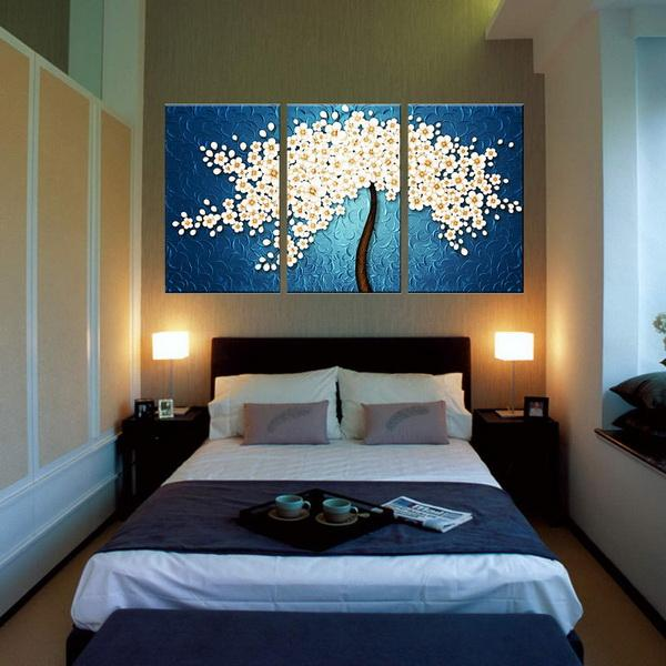 new High Definition Modern Spray Painting Decoration Hotel Canvas Oil Painting Fresco Triple Blue Flower Mural