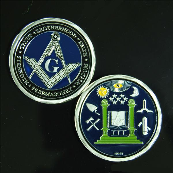 MD69 Masonic Challenge Coin Nuove monete più vendute 24K Gold Plated Fraternity Coin Regali aziendali Collezionabili Badge