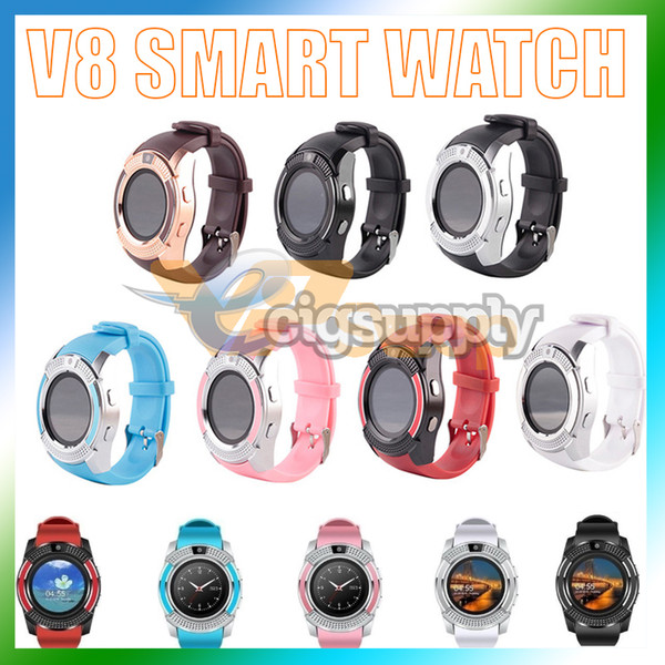V8 Smart Watch Bluetooth Watches with 0.3M Camera MTK6261D DZ09 GT08 Smartwatch for Apple Android Phone Wrist Watches with Retail Package