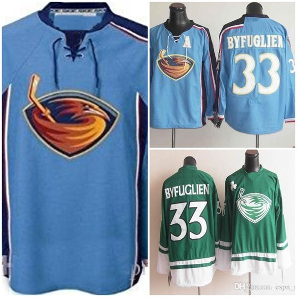 sale retailer fdf76 66282 2019 Factory Outlet Wholesale Cheap Atlanta Thrashers #33 Dustin Byfuglien  100% Stitched Blue Green Ice Hockey Jerseys Hot Sale From Cbssport, $24.07  ...