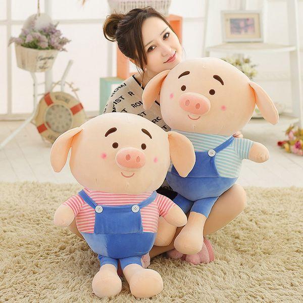 50cm/70cm Cute Couple Dressing Piggy Plush Toy Soft Cartoon Animal Pig Stuffed Doll Bed Decoration Pillow Girls Valentine's Gift