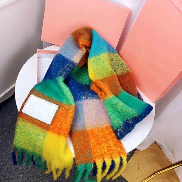 Красочный конструктор шарф Женщина Luxury Winter Wool Blending ACN-Stu стилей шарфы бренда женщин шарфы Multi цветы высоко качества