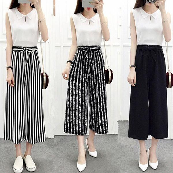 New Womens Wide Leg High Waist Casual Summer Thin Pants Loose Culottes Trousers VN