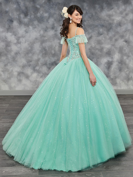 Bright Ice Green Fuchsia Straps Beads Quinceanera Dresses Special Occasion Party Dresses Dance Prom Dresses Custom Size 2-18 KF1229353