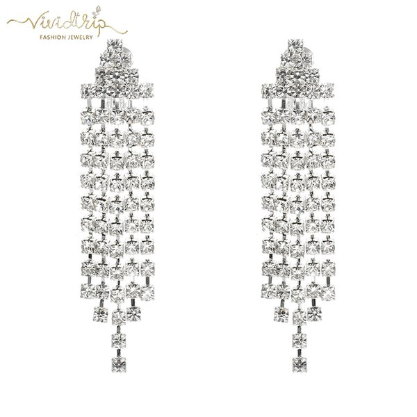 2019 NEW Silver Long Pave Full Rhinestone Tassel Clip on Earrings for Women No Pierced Wedding Ear Clips Bridal Party Jewelry