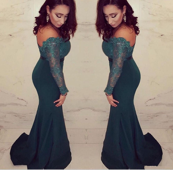 2019 Lace Evening Dresses Long Sleeves African Mermaid Formal Prom Gowns Arabic Drak Green Plus Size Mother Of The Bride Dresses