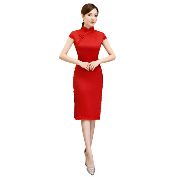 Shanghai Story Short Sleeve Chinese Traditional Clothing Long Cheongsam Lace Qipao Women's Chinese Oriental Dress 3 Color