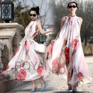 Fashion Women Dress Summer Bohemian Long Maxi dress Party Skirt Flowers Printed Chiffon Sleeveless cheap Casual Dress Free Size