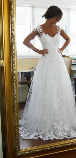 2019 Vintage Sheer A-Line Brautkleider Günstige Brautkleid Kleider für Garden Beach Wedding Braut Hohe Qualität Spitze V-Ausschnitt Benutzerdefinierte 463