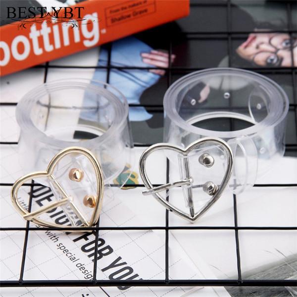 Best YBT Women's Belt Plastic Alloy Pin Buckle Transparent Peach Heart Pair Jeans Decortion Belt Ladies Student Spot