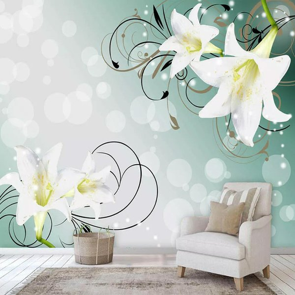 Custom Mural Wallpaper 3D Stereo Beautiful Lily Flowers Wall Painting Living Room Bedroom Waterproof Canvas Romantic Home Decor