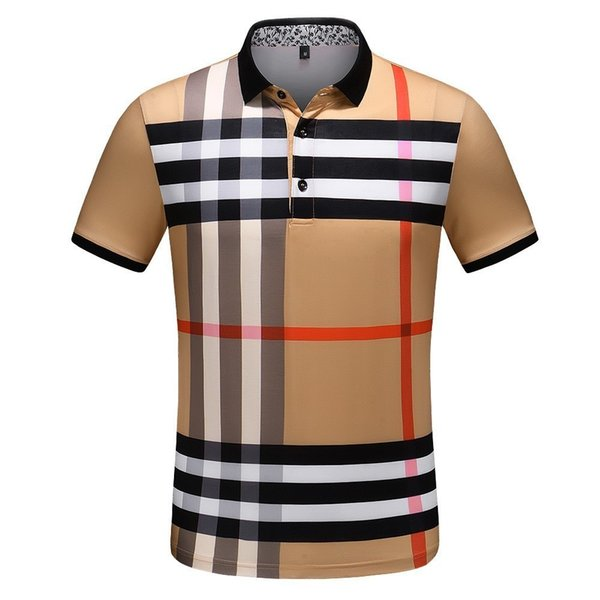 Men's lapel lining printed casual fashion T-shirt line color matching print generous simplicity high quality fabric