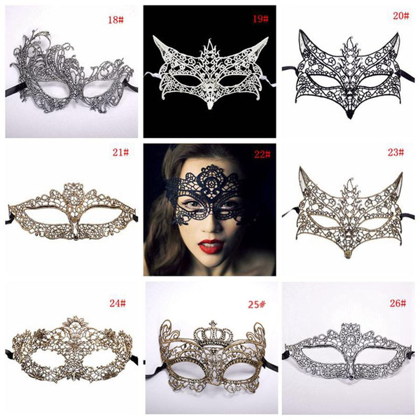 42 Styles Fashion Sexy Lady Lace Mask Black Cutout Eye Masks Colorful Masquerade Fancy Mask Halloween Venetian Mardi Party Costume