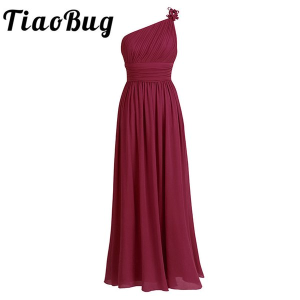 Tiaobug Long Chiffon Dresses One Shoulder Beading Light Green Black Burgundy Dark Purple Gray Bridesmaid Dress Gown Q190516