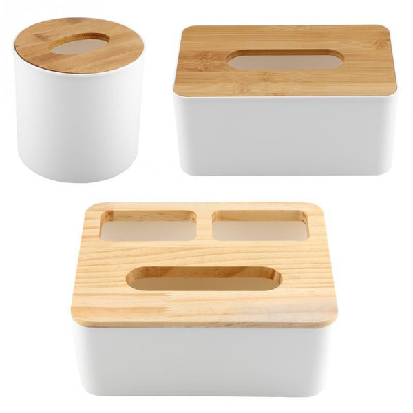 Removable Bamboo Wood Cover Plastic Box Storage Organizer Fashion Tissue Case For Home Decoration C19042101