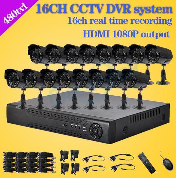 -480TVL CCTV 16pcs outdoor Waterproof IR Cameras 16ch h.264 DVR recorder Kit 16 channel security video surveillance dvr system
