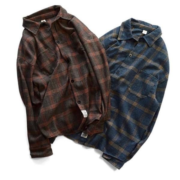 Großhandel Designermarken der Frauen der Männer Shirts Street Langarm Umsatz Kragen Plaid Business Casual Karohemd Top-Qualität B101772V