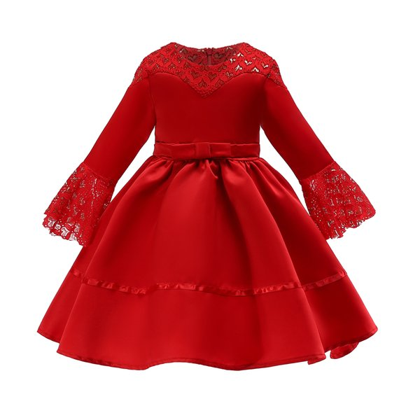 New bowknot Lace Boat Neck Long sleeves Satin Lovely Elegant Party Pageant Princess 2-9T Girl Dresses 3187