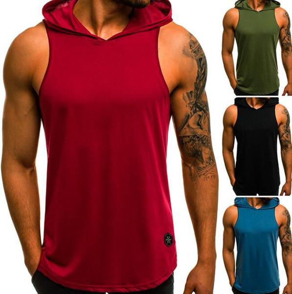 2019 neue produkte fitness männer bodybuilding baumwolle sleeveless top solide stringer hoodie tank sommer mens mit kapuze shirts sport beiläufige weste