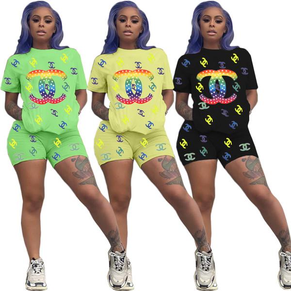 бренд женских костюмов короткого рукав шорты наряды 2 шт набор лета женской одежды модный бренд пуловеры шорты костюмы