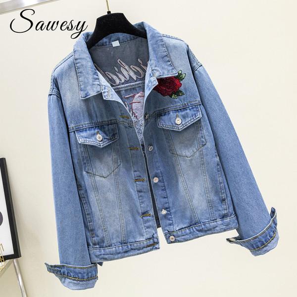 Embroidered Denim Jacket Women 2018 Autumn Fashion Collar Pockets Jean Coat Female Streetwear Ladies Clothing Women Outwear Blue