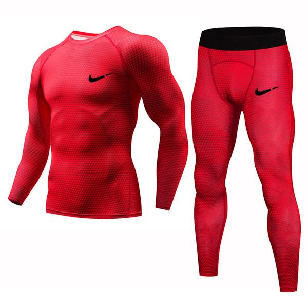 الرجال رياضة الجري ضغط T قميص سروال بذلات رياضية الركض ذكر جيم للياقة البدنية التدريب رياضية القمم اللباس كيت S-4XL