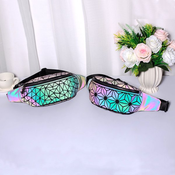 Luminosa geométrica bolsa de cintura de couro PU Fanny Pack Brilho Luz na Noite Mulheres Zipper Saco Da Cintura Ao Ar Livre Peito bolsa de ombro FFA2172