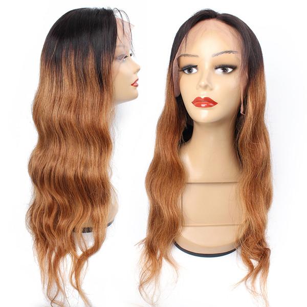 1B 30 Ombre Kahverengi Dantel Ön Peruk Siyah Kadınlar Için 150 Yoğunluk Brezilyalı Vücut dalga İnsan Saç peruk 13x4 Dantel Frontal Peruk Toptan