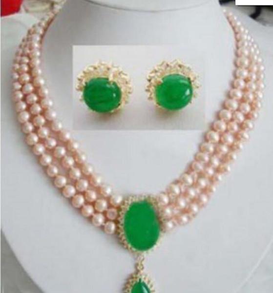 bijoux Bijoux 001154 Boucle d'oreille collier 3 rangées de perles de jade rose