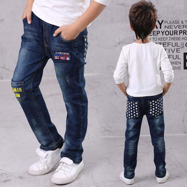Baby boys jeans kids long style cartoon trousers 3-15T teenage autumn denim trousers baby boy thin child spring pants
