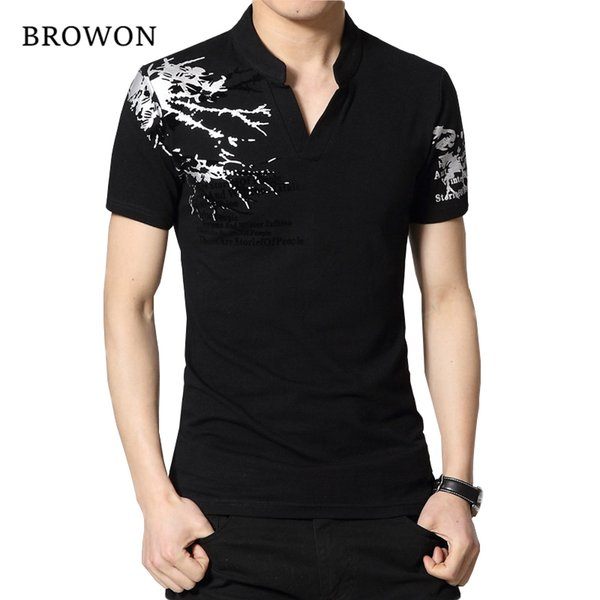 Summer 2018 Men T Shirt Letters Flocking Print Henry Collar T-shirts Short Sleeves Straight Loose Plus Size Tops & Tees M-5xl J190611