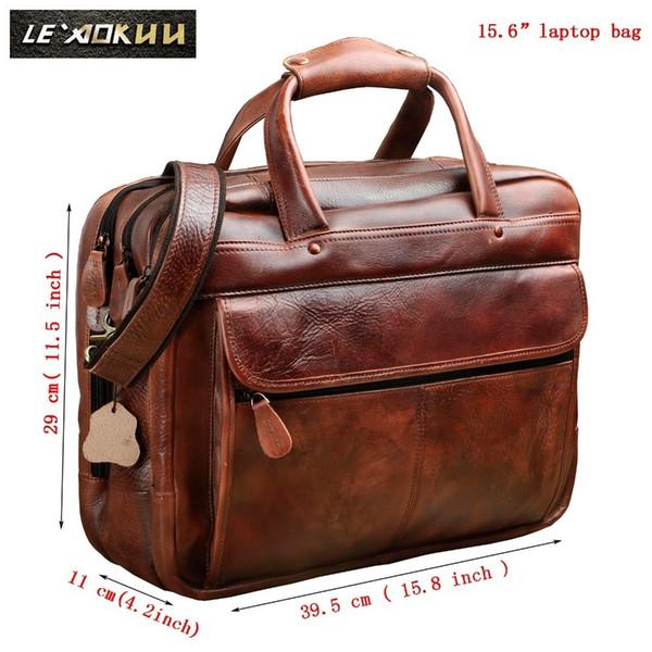 Los hombres de aceite de cera de cuero de diseño antiguo maletín de negocios portátil caso del documento de moda Attache Messenger Bag Tote Portfolio 7146c Y190627